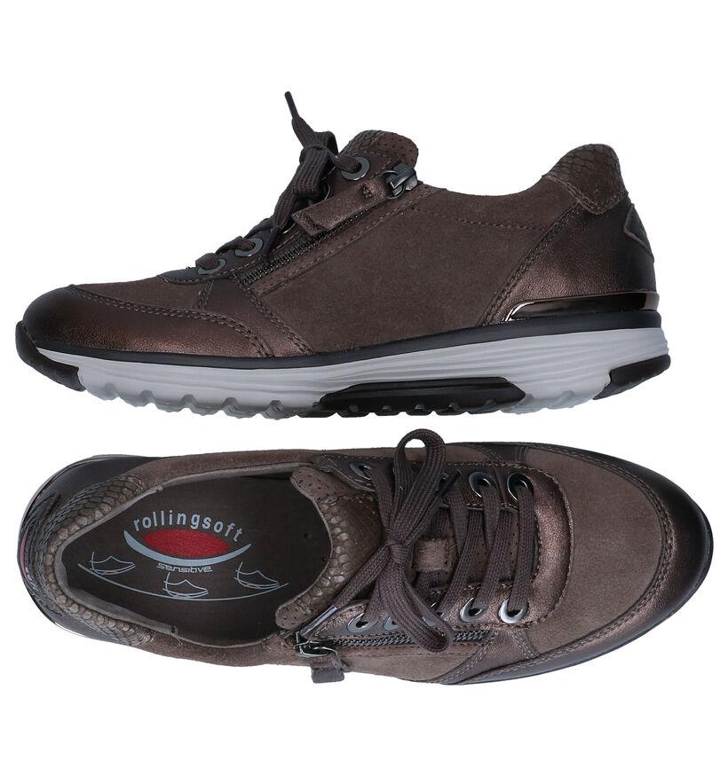 Gabor Rollingsoft Chaussures à lacets en Taupe en cuir (277859)
