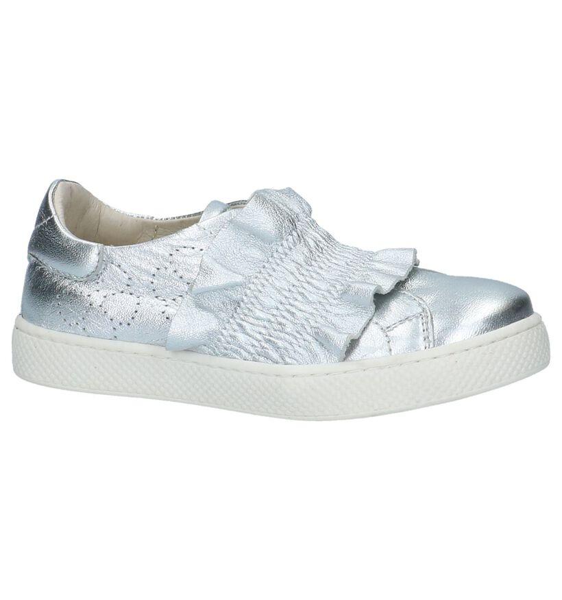 Milo & Mila Chaussures slip-on en Argent en cuir (210048)