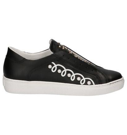 Slip-on Sneakers Zwart met Studs Tosca Blu in leer (209017)