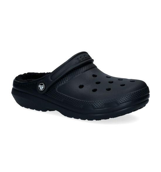 Crocs Classic Fuzz-lined Clog Zwarte Slippers