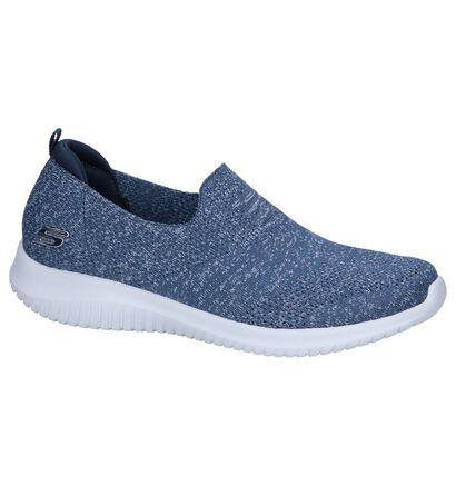 Blauwe Slip-on Sneakers Skechers Ultra Flex in stof (251952)