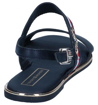 Donkerblauwe Sandalen Tommy Hilfiger Flat Corporate Ribbon, Blauw, pdp