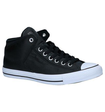 Converse Chuck Taylor All Star Zwarte Hoge Sneakers in leer (233488)