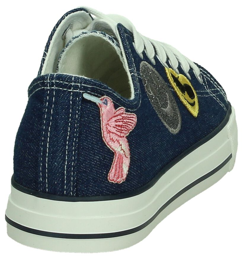 Tamaris Donker Blauwe Sneakers met Patches in stof (192448)