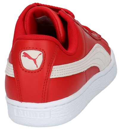 Puma Basket Heart Lage Sneakers Zwart in leer (199464)