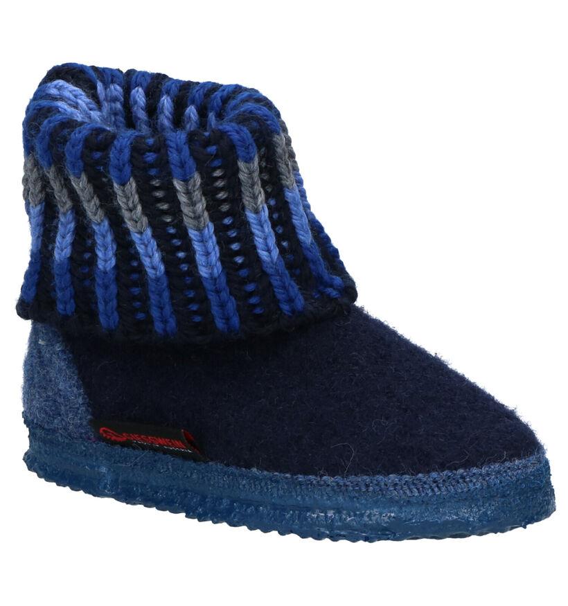 Giesswein Blauwe Pantoffels in wol (259038)