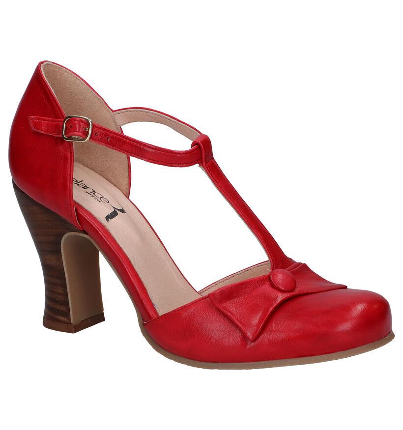 Relance Escarpins à bride en Rouge en cuir (293212)
