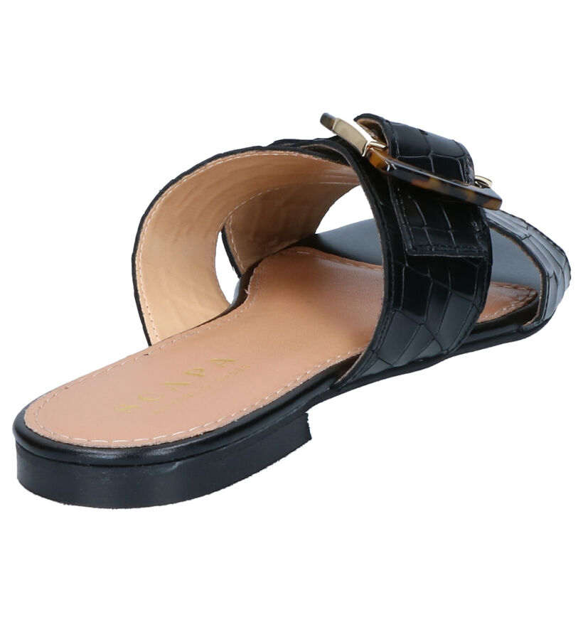 Scapa Zwarte Slippers in leer (270294)