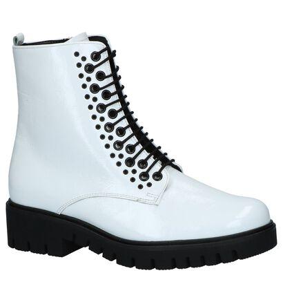 Witte Laké Boots met Rits/Veter Gabor Comfort in lakleer (233862)