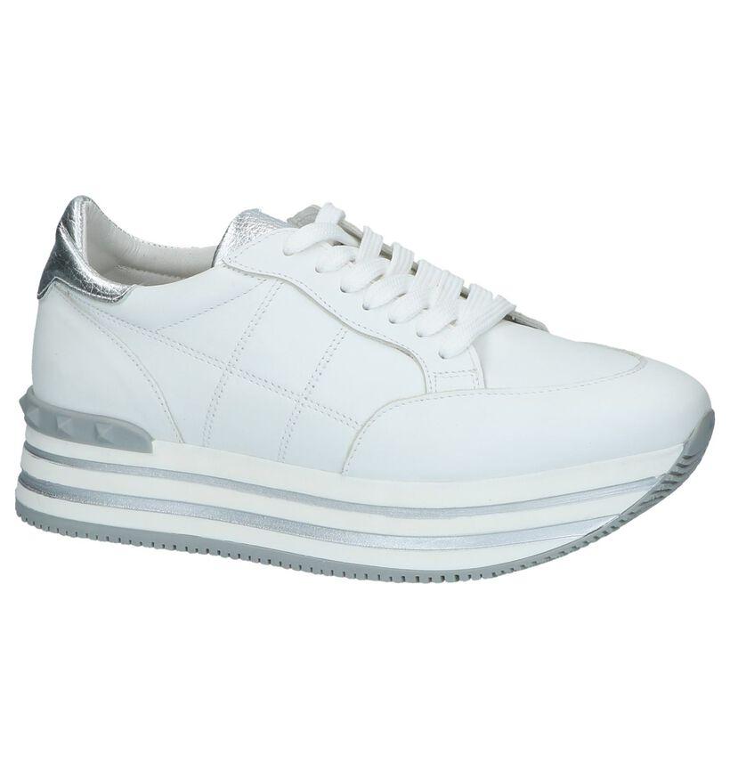 Witte Lage Geklede Sneakers Via Limone in leer (232859)