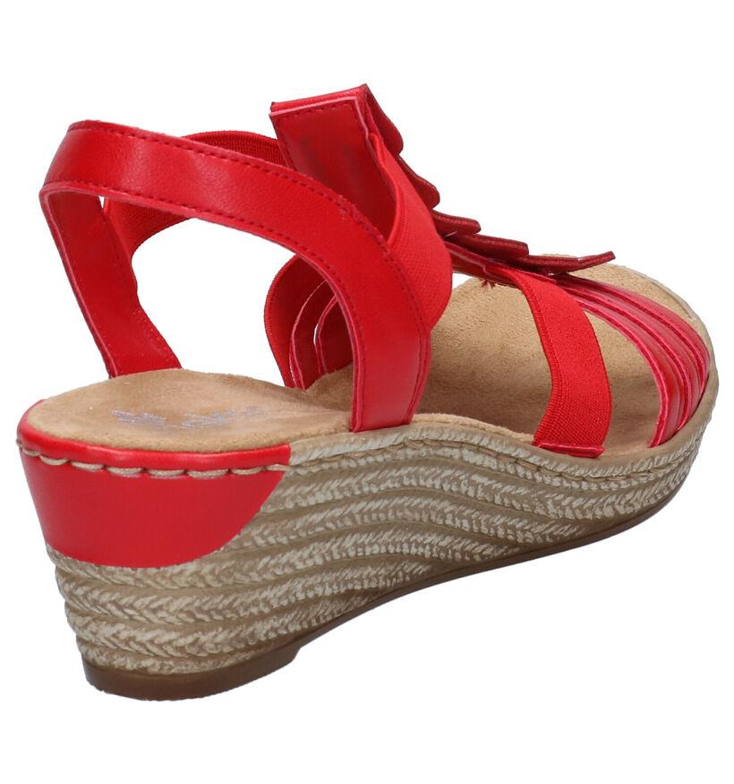 Rieker Rode Sandalen in kunstleer (273592)