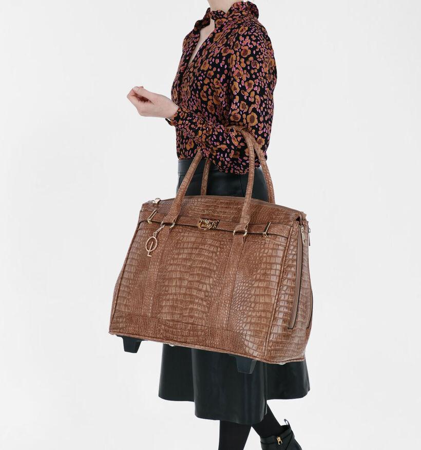 Olivia Lauren Manon Sac à roulettes en Cognac en simili cuir (292641)