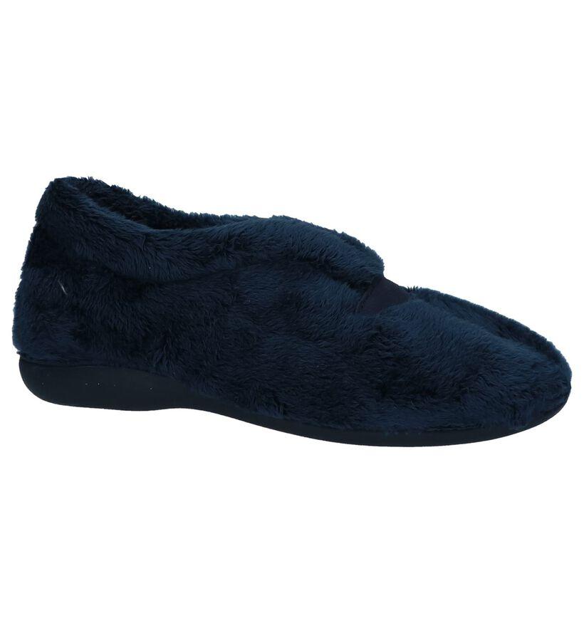 Via Limone Pantoufles fermées en Bleu foncé en faux fur (223824)