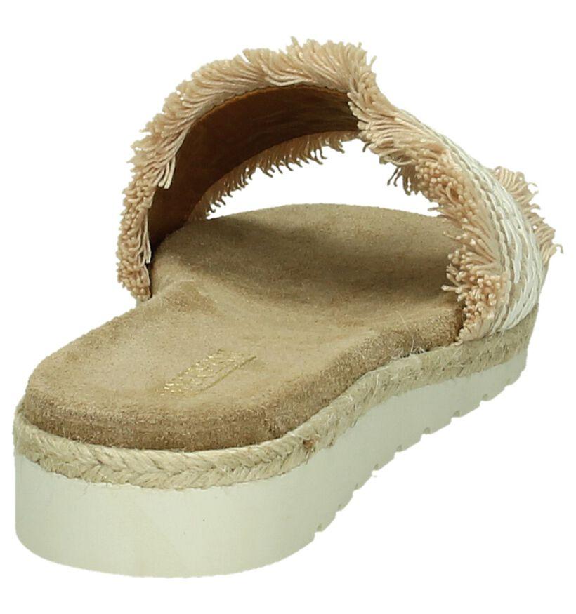 Artigiano Italiano Nu-pieds à talons en Beige en textile (190008)