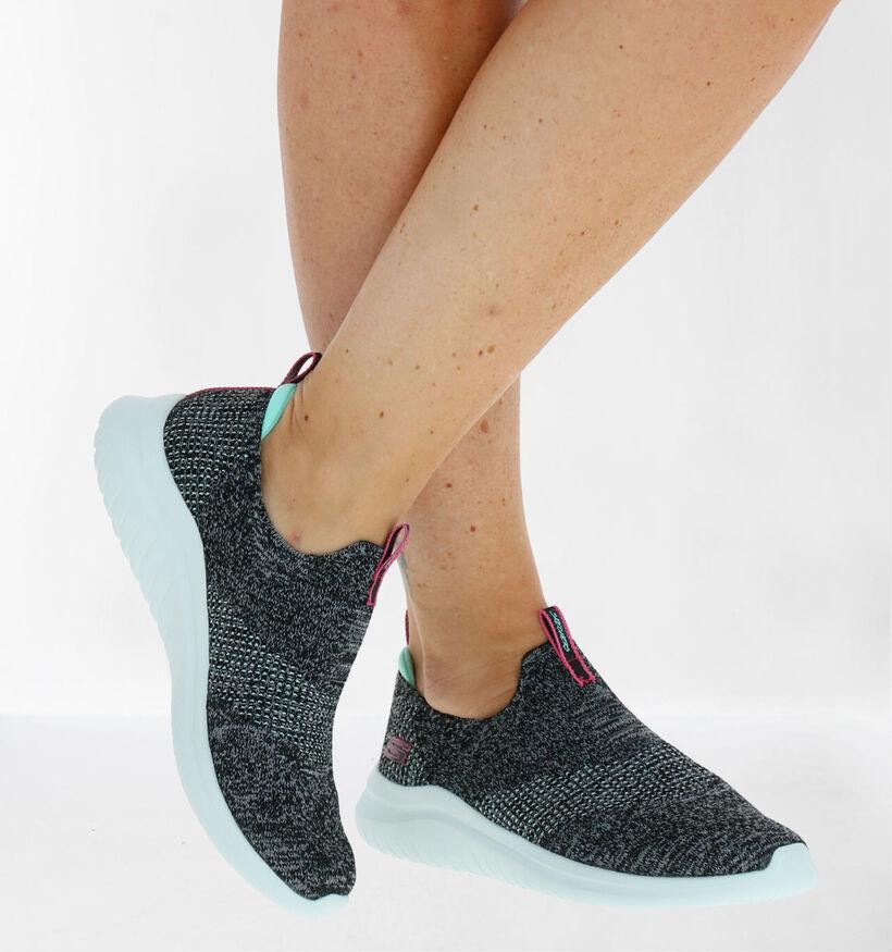 Skechers Ultra Flex Grijze Slip-on Sneakers in stof (279337)
