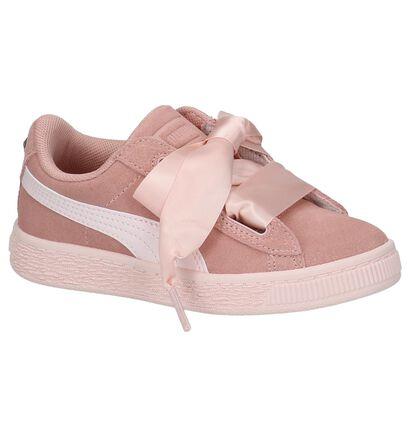 Donker Roze Sneakers Puma met Steentje in daim (209892)
