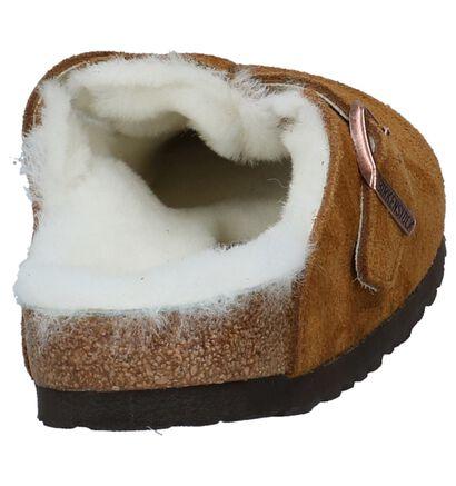Birkenstock Boston Bruine Pantoffels in wol (231558)