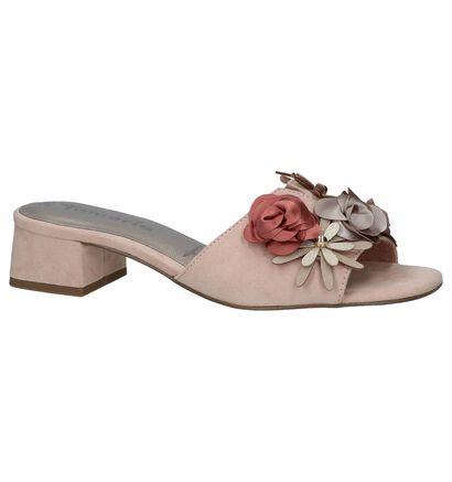 Tamaris Roze Slippers met Bloemen, Roze, pdp