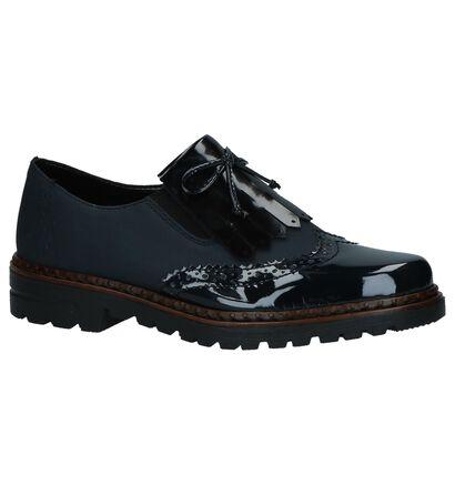 Rieker Chaussures slip-on en Bleu foncé en cuir verni (262102)