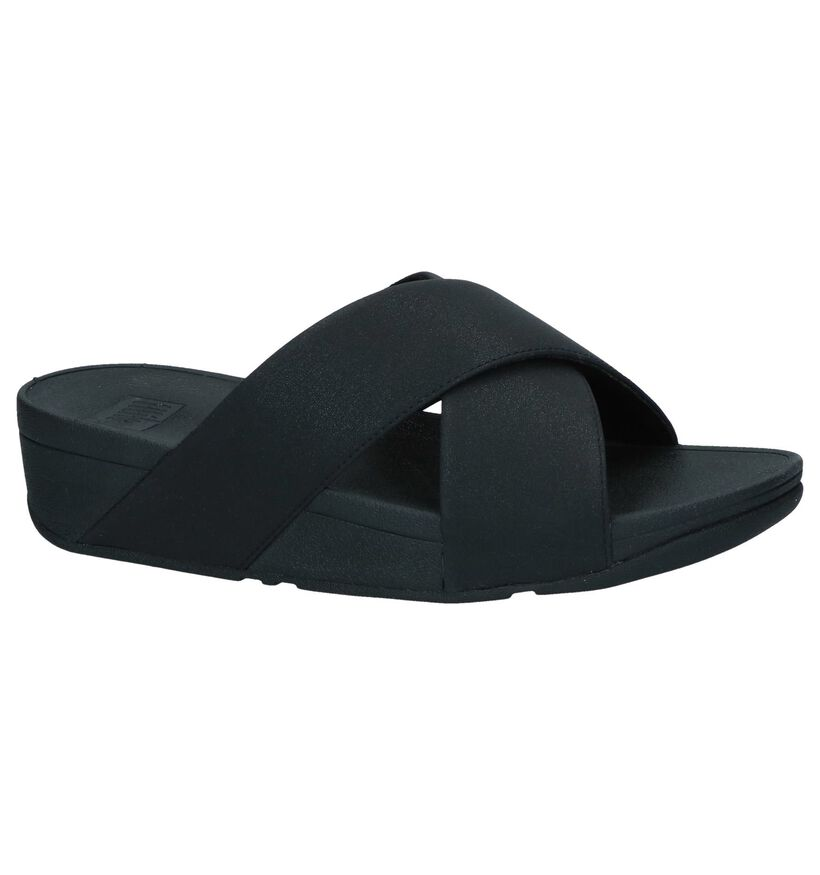 Zwarte Slippers FitFlop Lulu Shimmer Slide in kunstleer (240969)