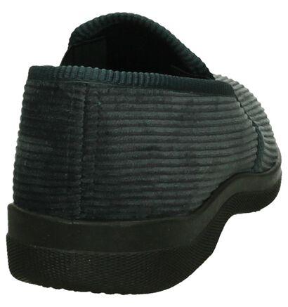 Slippers Comfort Pantoufles fermées en Gris foncé en textile (206077)