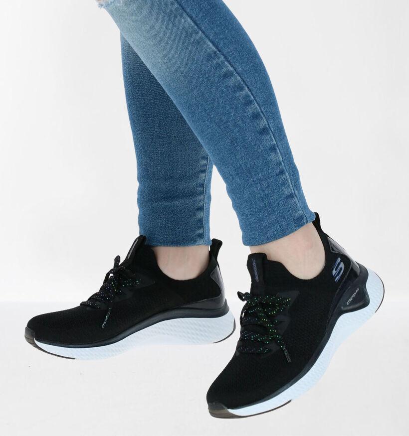 Skechers Solar Fuse Gravity Experience Zwarte Slip-on Sneakers in kunstleer (279342)