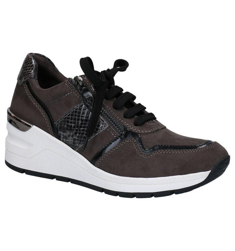 Marco Tozzi Chaussures à lacets en Gris foncé en simili cuir (280497)
