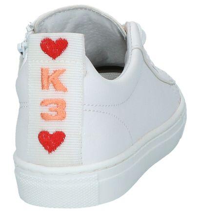 Witte Sneakers Rits/Veter K3 in lakleer (213084)