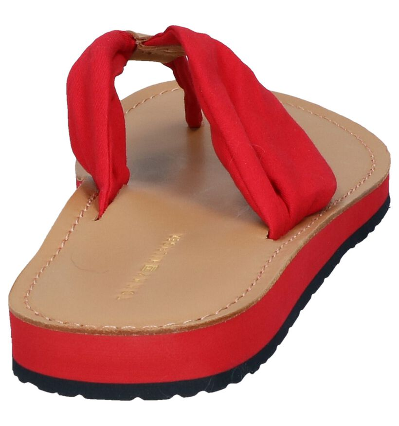 Tommy Hilfiger Rode Teenslippers in stof (285497)