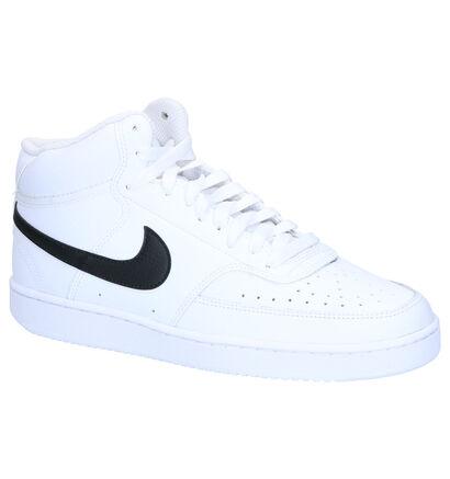 Nike Court Vision Mid Zwarte Sneakers in kunstleer (262208)