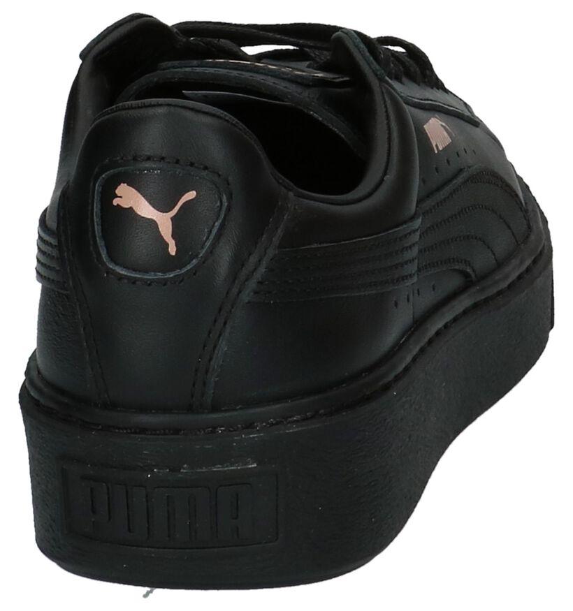 Puma Basket Platform Baskets basses en Noir en cuir (207272)