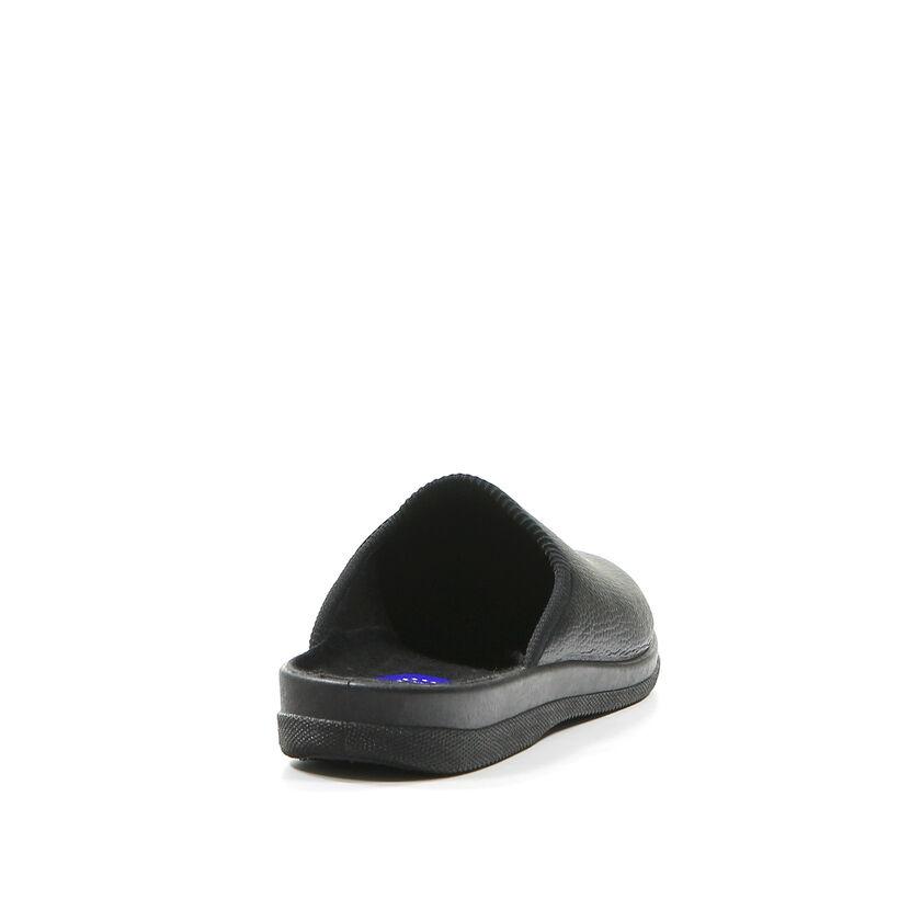 Slippers Comfort Pantoufles ouvertes en Noir en simili cuir (143258)