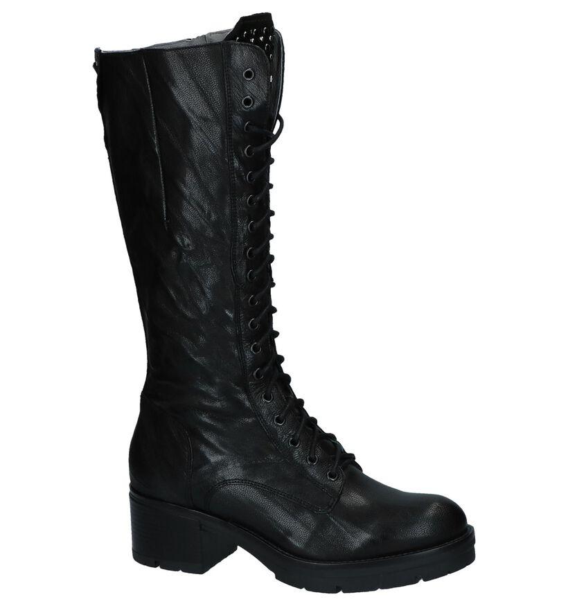 Stoere Zwarte Lange Laarzen met Rits/Veter NeroGiardini in leer (226499)