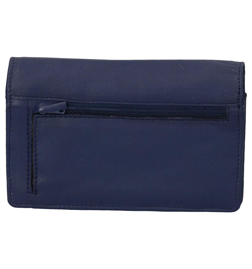 Euro-Leather Zwarte Overslagportemonnee in leer (292650)