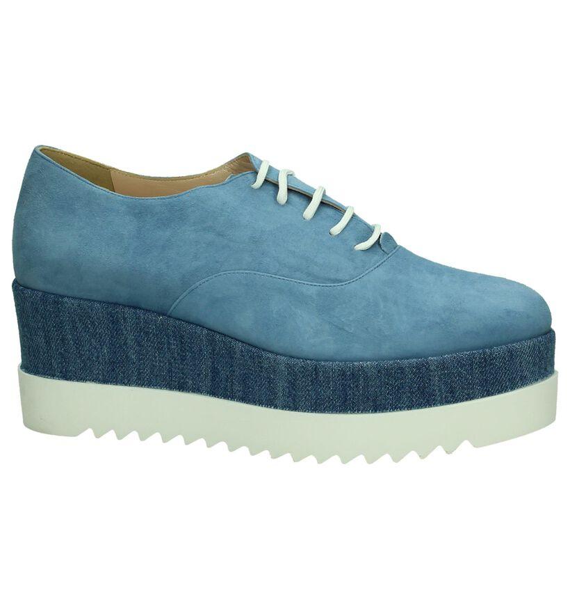 Via Roma Chaussures à lacets en Bleu en daim (207359)