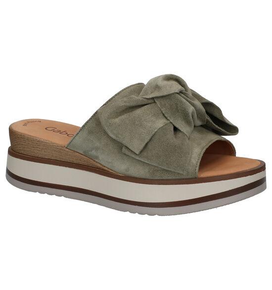 Gabor Best Fitting Nu-pieds en Vert kaki