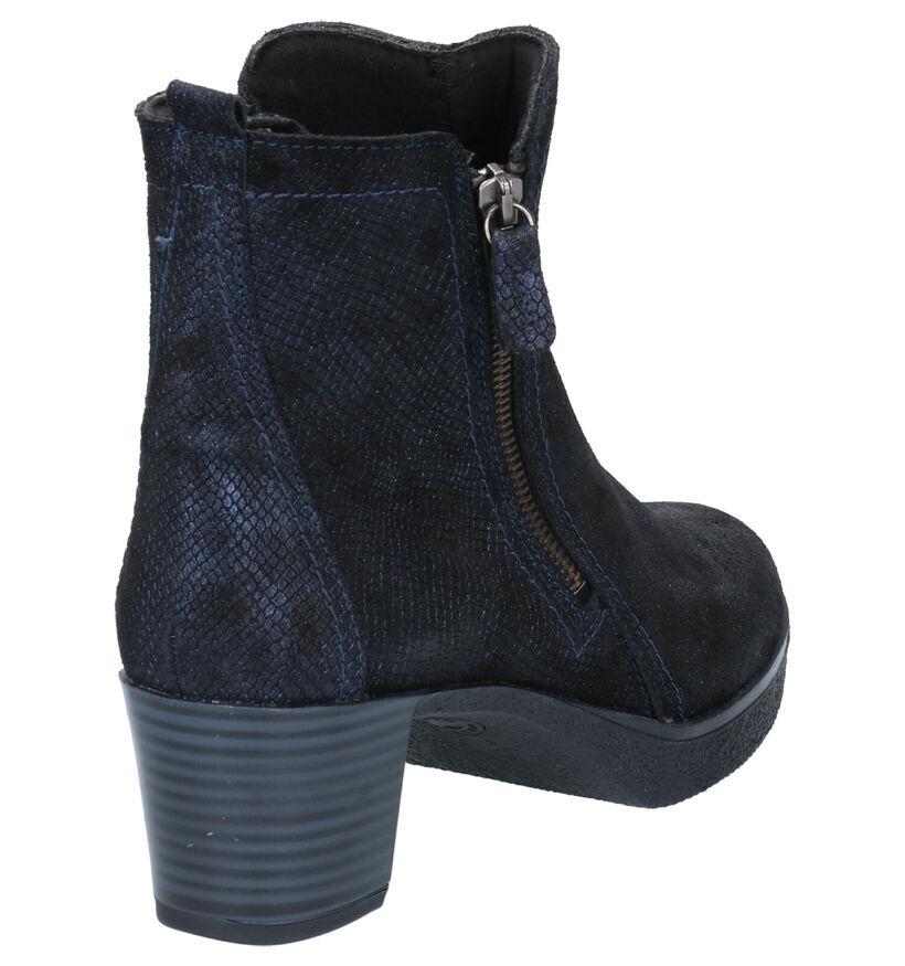 Mirel Bottillons à talons en Bleu en cuir (256447)