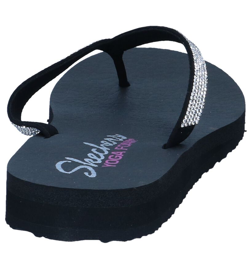 Skechers Memory Foam Tongs en Noir en simili cuir (240502)