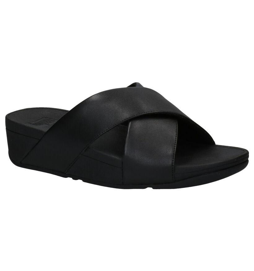 FitFlop Lulu Cross Slide Zwarte Slippers in leer (286705)