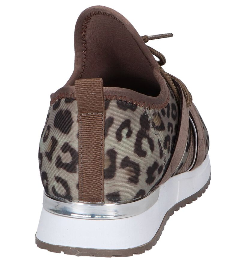 Taupe Slip-on Sneakers Shoecolate in stof (264099)