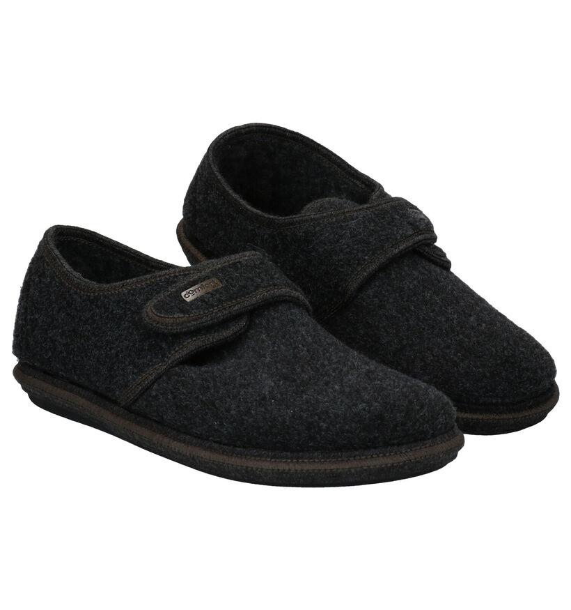 Comfort Plus Pantoufles fermées en Gris foncé en textile (281886)