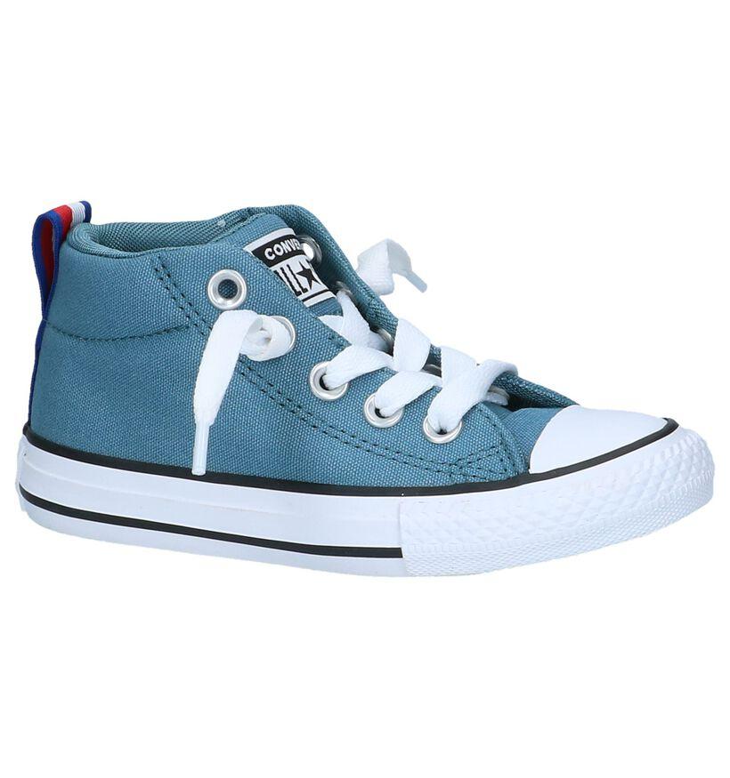 Blauwe Slip-on Sneakers Converse Chuck Taylor AS Street Mid in stof (238048)