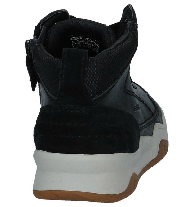 Zwarte Hoge Sneakers met Rits/Veter Geox in leer (223167)
