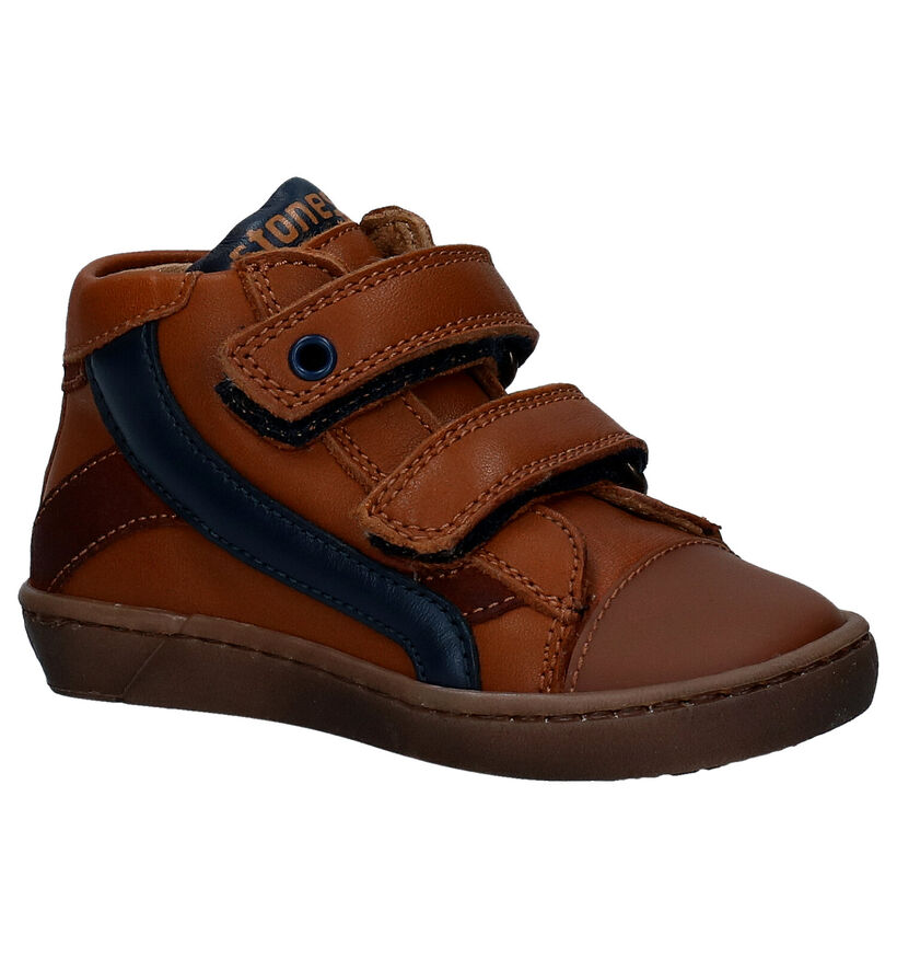 STONES and BONES Zeke Cognac Velcrobottines in leer (278888)