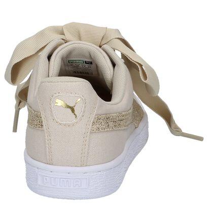 Lage Sportieve Sneakers Donkerbeige Puma Basket Heart in stof (209946)