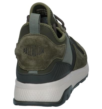 Palladium Axeon Army Kaki Slip-on Sneakers in stof (225418)