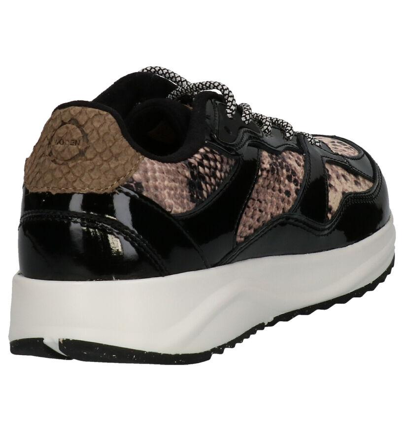 Woden Sophie Snake Zwarte Sneakers in lakleer (254197)