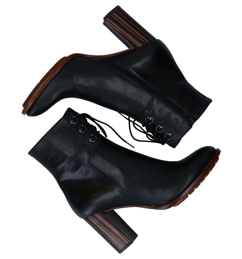Zinda Bottillons à talons en Noir en cuir (279616)
