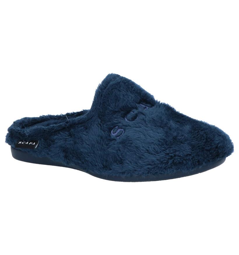 Scapa Pantoufles ouvertes en Bleu foncé en textile (263667)