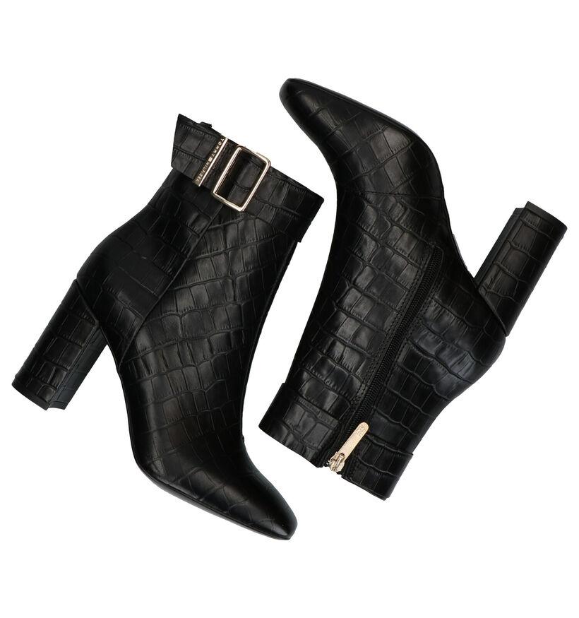 Tommy Hilfiger Croco Look High Heel Bottillons en Noir en cuir (279983)